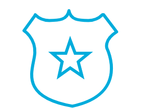 icon of police badge with star in the middle