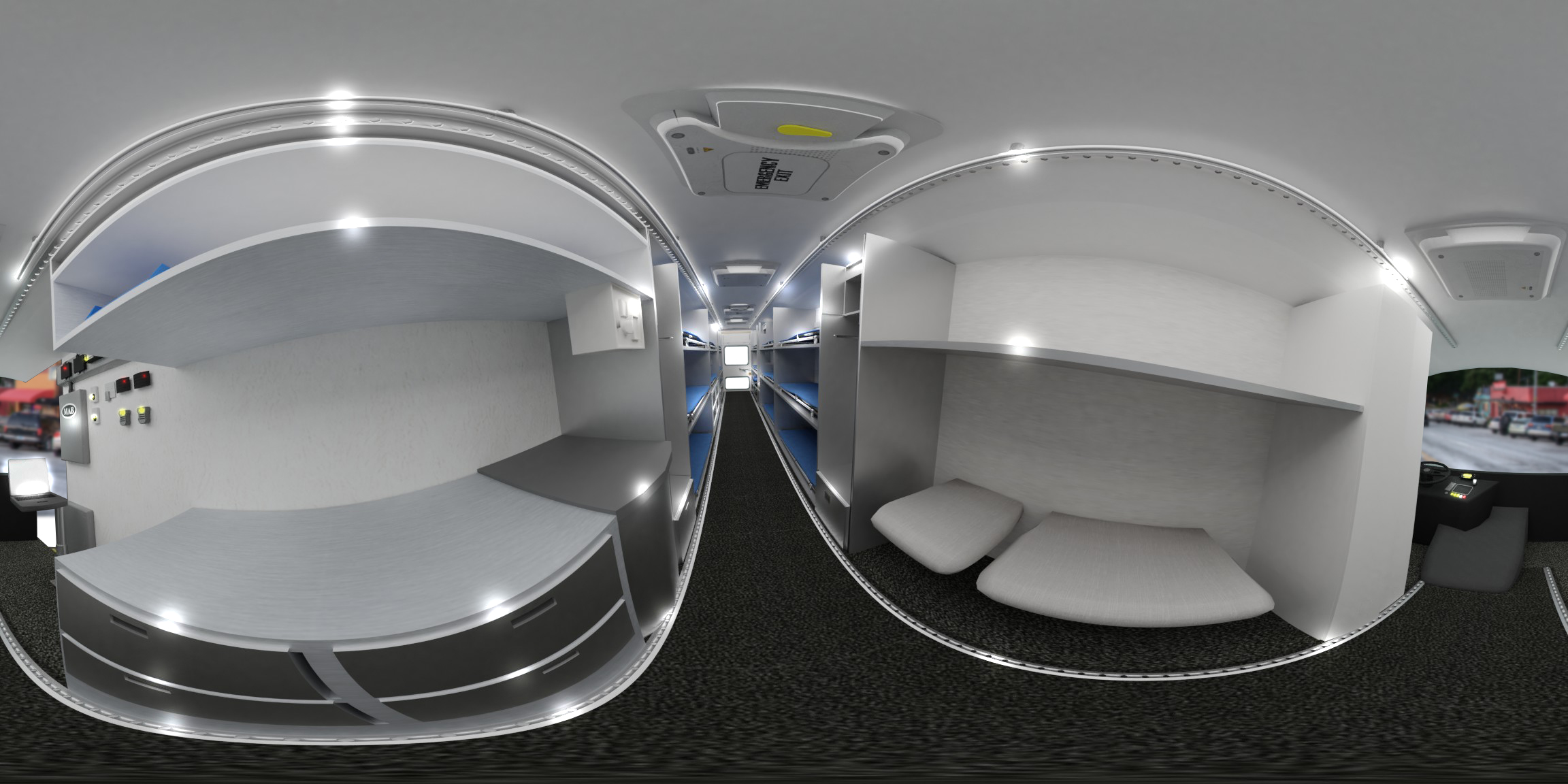 360 view of the ambus interior