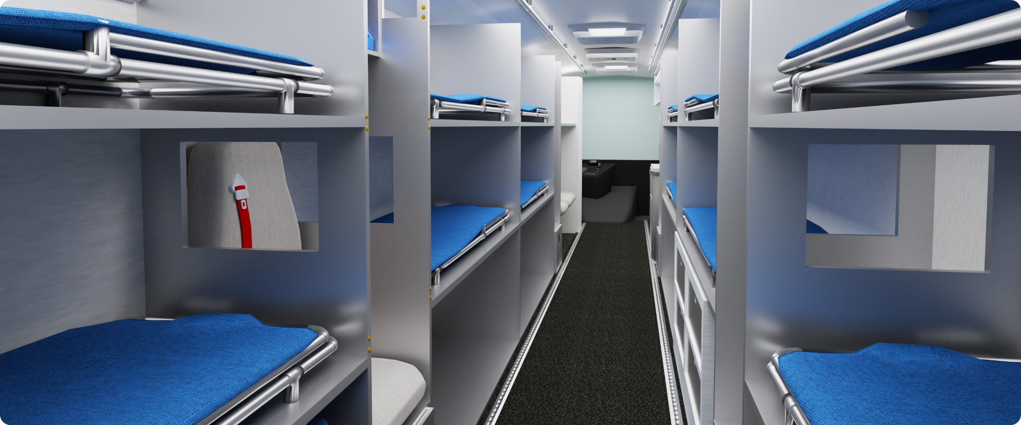 3D render of the AMBUS interior showing drawers and beds