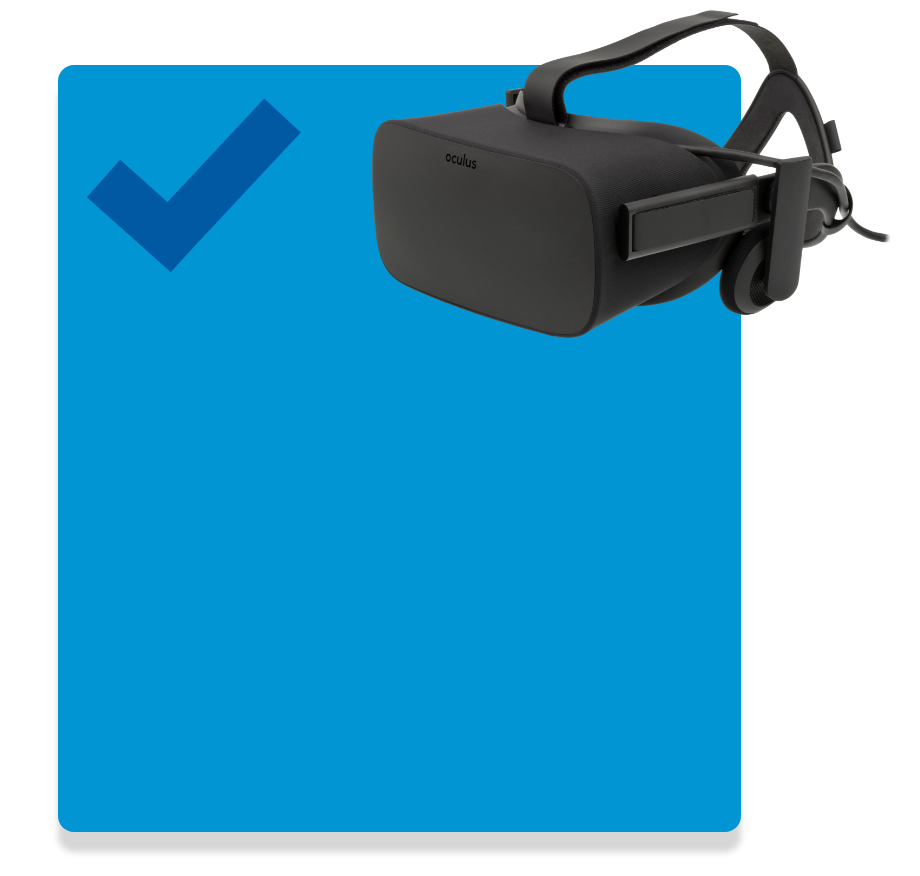 vr headset with check mark overlaid