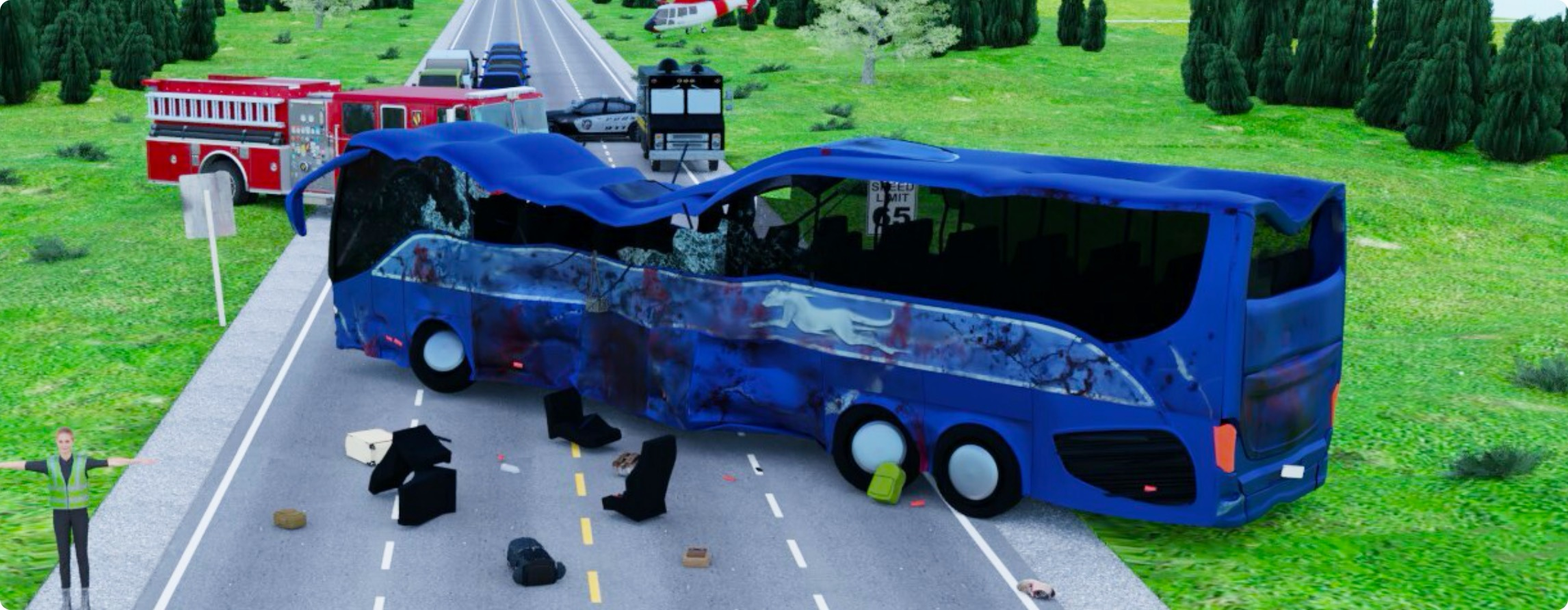 3d Mass casualty incident bus crash scene with debris and emergency vehicles on scene
